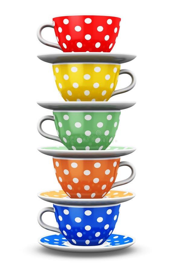 Pilha de copos de café do às bolinhas da cor ilustração royalty free