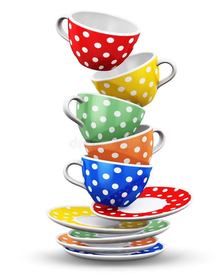 Pilha de copos de café do às bolinhas da cor de voo ilustração royalty free