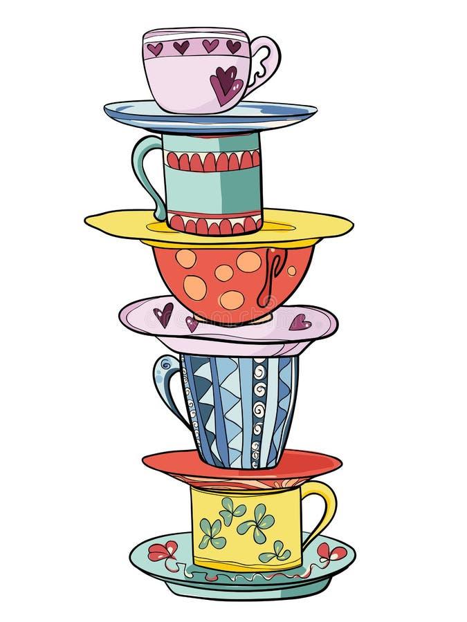 Pilha de copos e de pires engraçados coloridos brilhantes ilustração stock