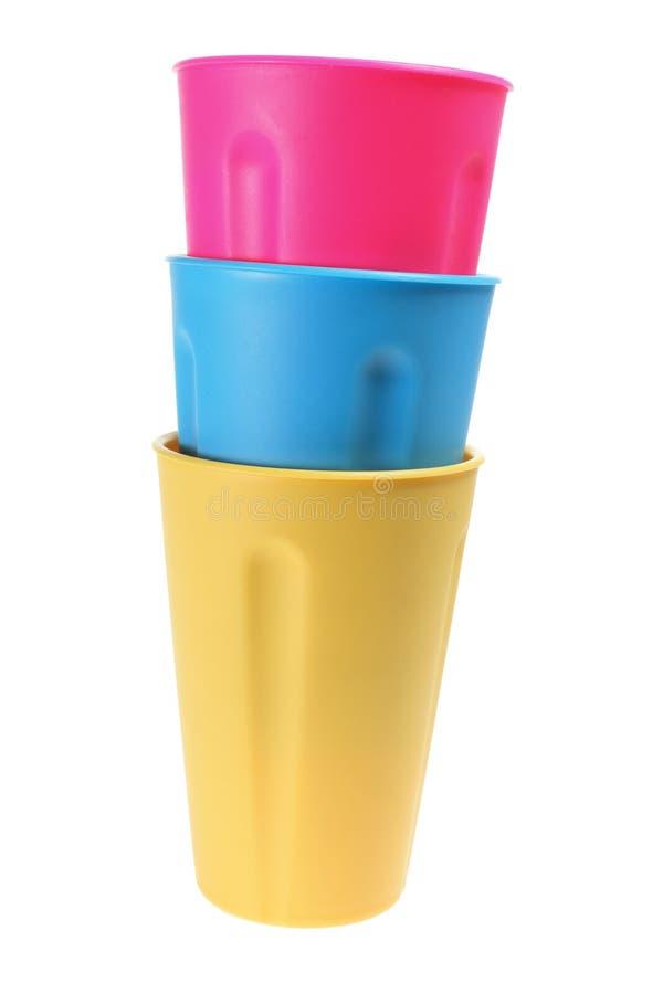 Pilha de copos plásticos imagens de stock