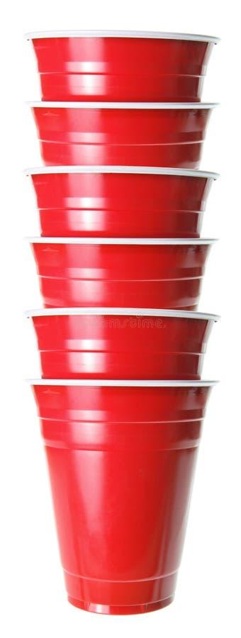 Pilha de copos plásticos fotografia de stock