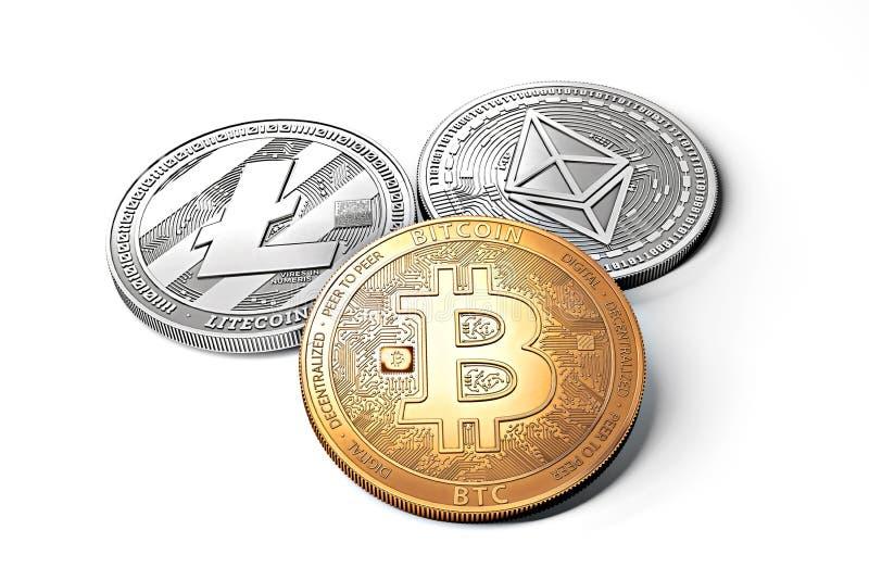 Pilha de cryptocurrencies: o bitcoin, o ethereum, o litecoin, o monero, o traço, e a ondinha inventam junto ilustração do vetor