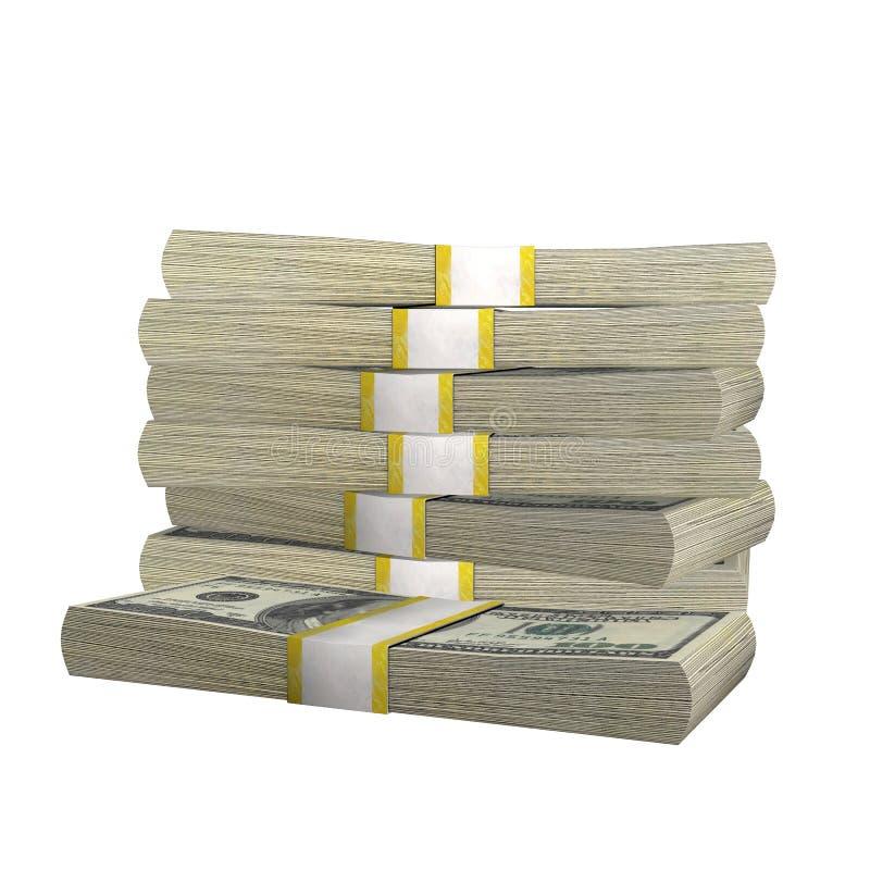 Pilha de 100 da cédula da conta dos EUA dólares de cédula do dinheiro em um fundo branco ilustração royalty free