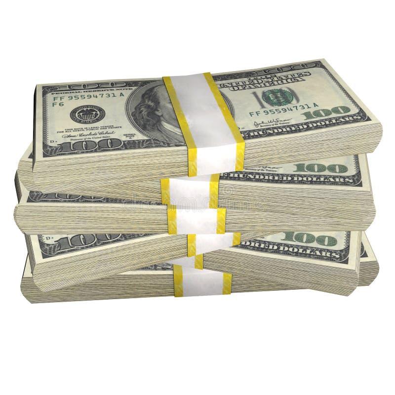 Pilha de 100 da cédula da conta dos EUA dólares de cédula do dinheiro em um fundo branco ilustração do vetor