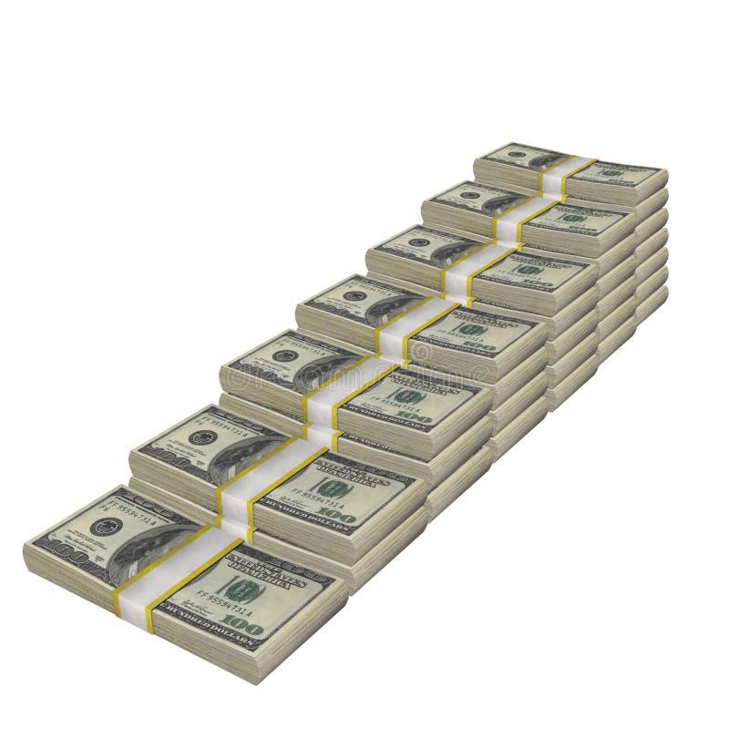 A pilha de 100 da cédula da conta dos EUA dólares de cédula do dinheiro isolou-se Em um fundo branco ilustração royalty free