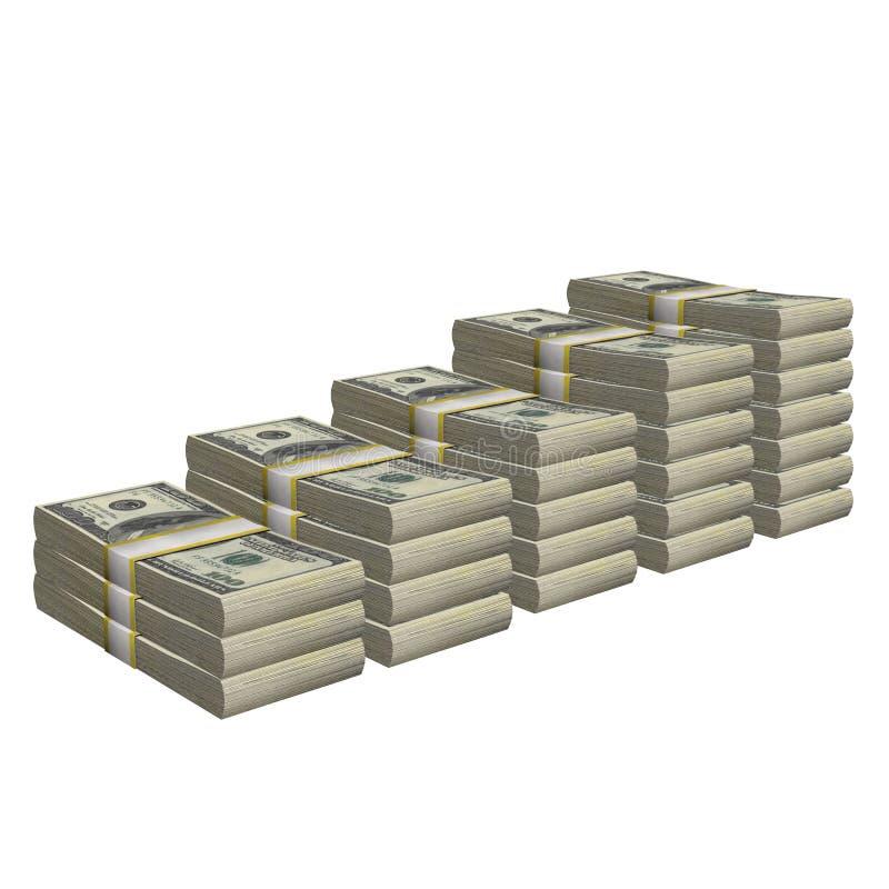 A pilha de 100 da cédula da conta dos EUA dólares de cédula do dinheiro isolou-se Em um fundo branco ilustração do vetor