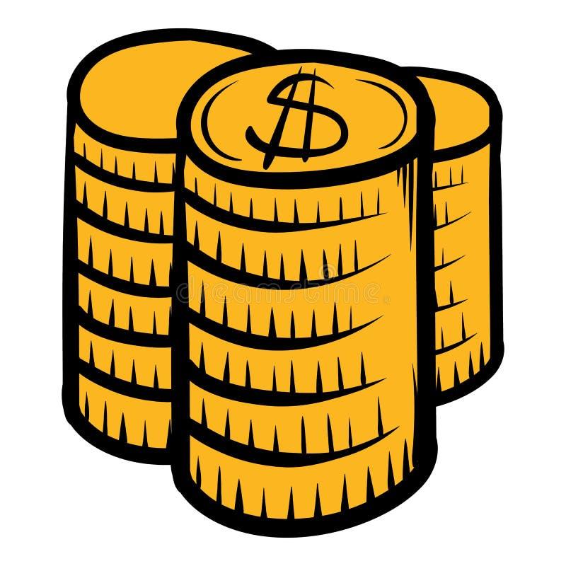 Pilha de desenhos animados do ícone das moedas ilustração royalty free