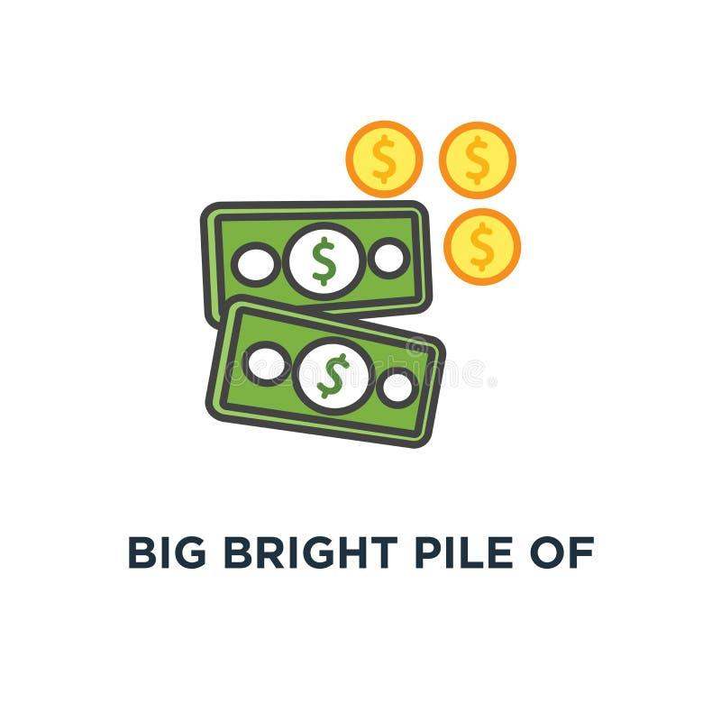pilha de dinheiro brilhante grande, ícone da vitória sucesso, concessão, riqueza, projeto do símbolo do conceito da abundância, f ilustração royalty free
