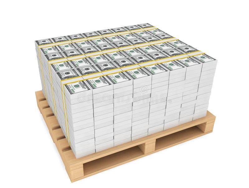 Pilha de dinheiro com pallete fotos de stock royalty free