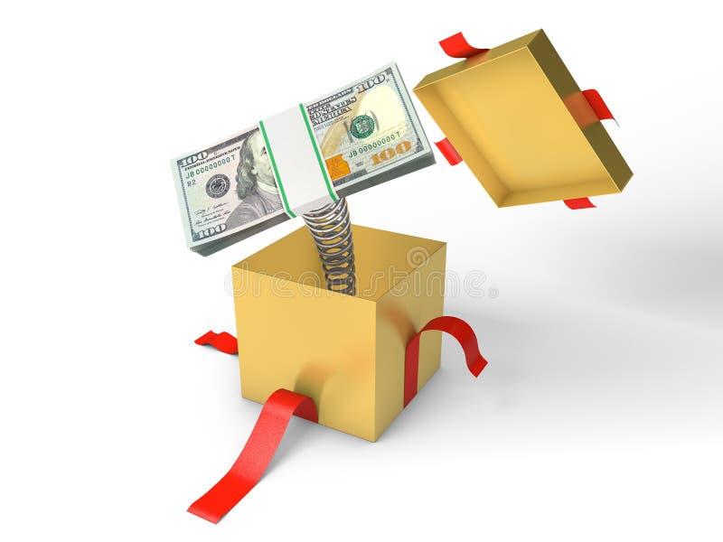 A pilha de dinheiro salta de uma caixa de presente em uma mola ilustração royalty free
