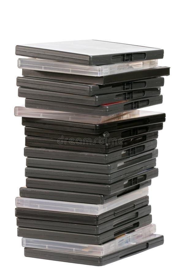 Pilha de DVDs imagens de stock