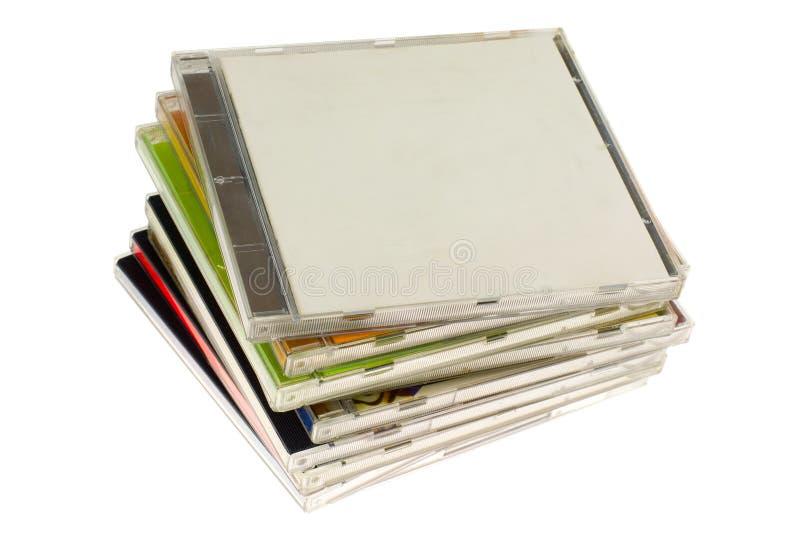 Pilha de embalagens CD imagem de stock
