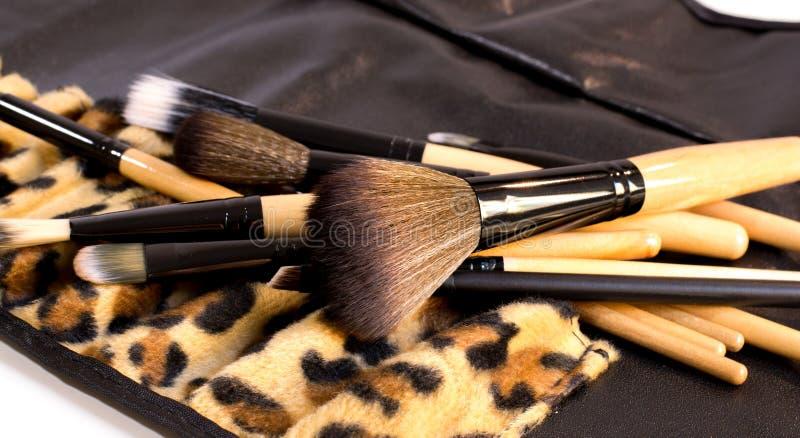 A pilha de escovas com um exemplo do leopardo para compõe imagens de stock