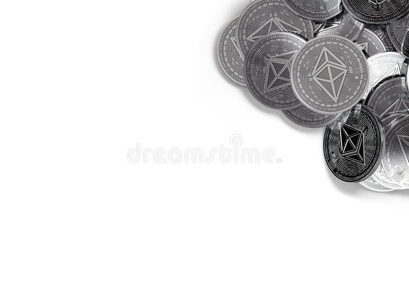 A pilha de Ethereum de prata inventa no canto direito superior isolado no branco e no espaço da cópia para seu texto ilustração stock