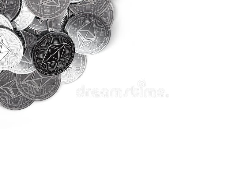A pilha de Ethereum de prata inventa no canto de superior esquerdo isolado no branco e no espaço da cópia para seu texto ilustração royalty free