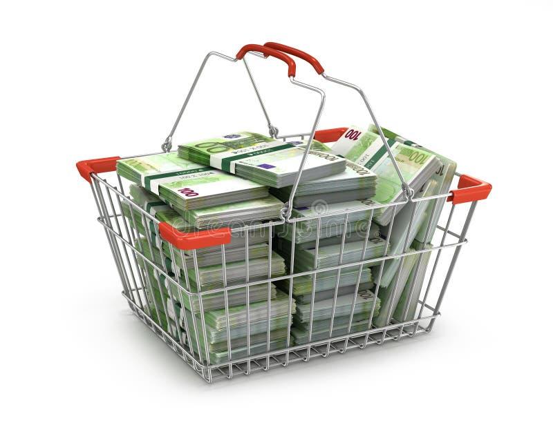 Pilha de euro- contas no cesto de compras, ilustração do vetor