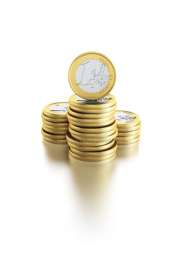 Pilha de euro- moedas ilustração stock