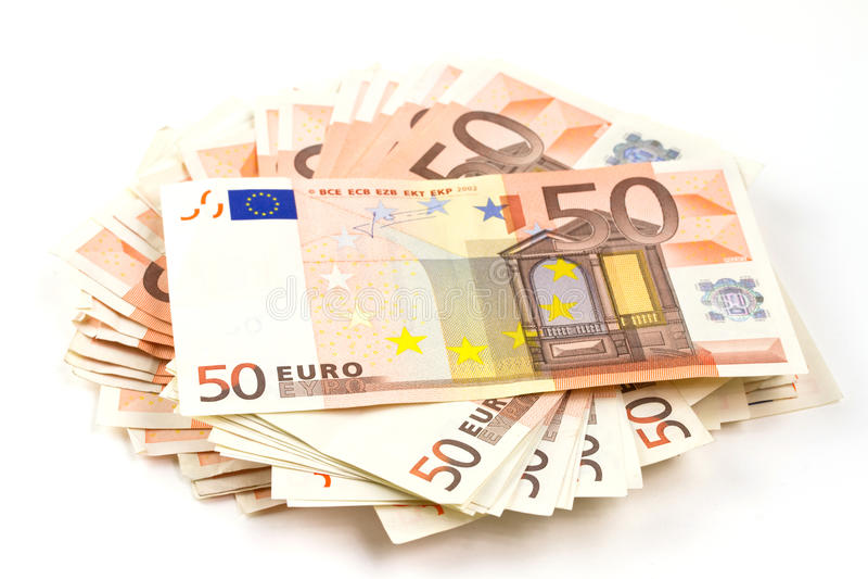 Pilha de euro- notas de banco fotografia de stock royalty free