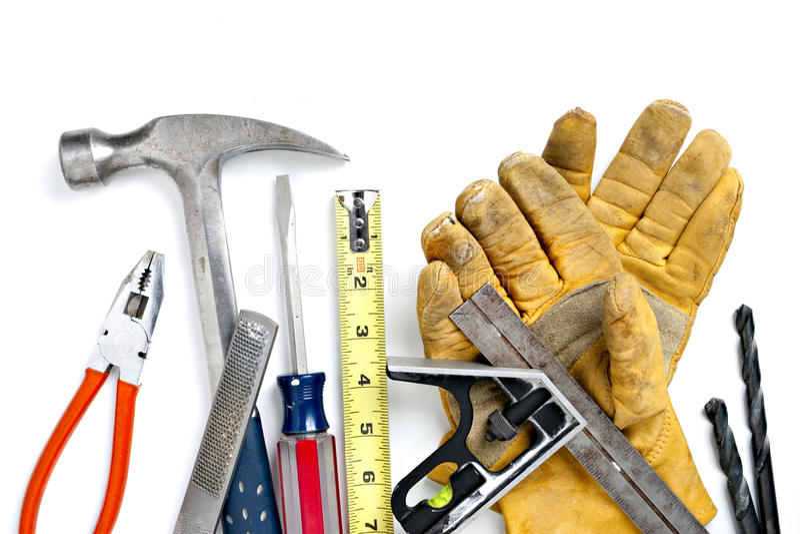 Pilha de ferramentas da construção imagem de stock
