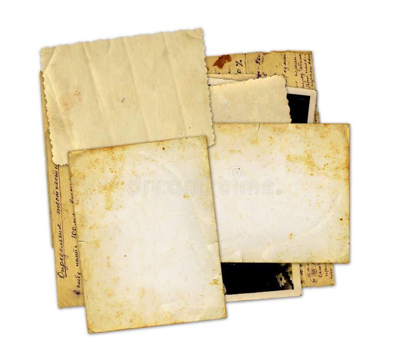 Pilha de fotos e de letras velhas foto de stock royalty free