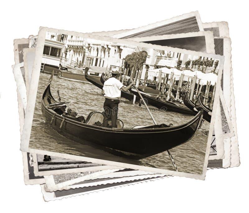 Pilha de fotos velhas do vintage em Veneza imagens de stock royalty free