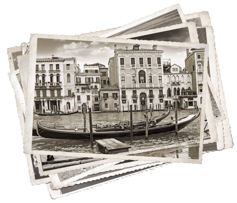 Pilha de fotos velhas do vintage em Veneza fotografia de stock royalty free