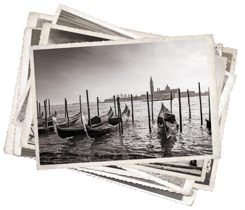 Pilha de fotos velhas do vintage em Veneza imagens de stock