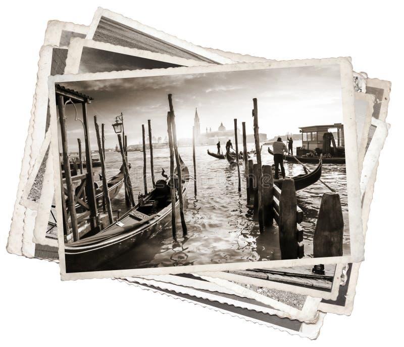 Pilha de fotos velhas do vintage em Veneza fotos de stock