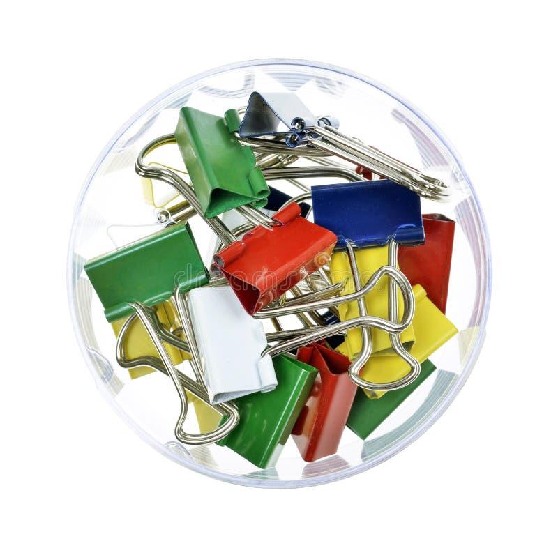 Pilha de grampos coloridos foto de stock
