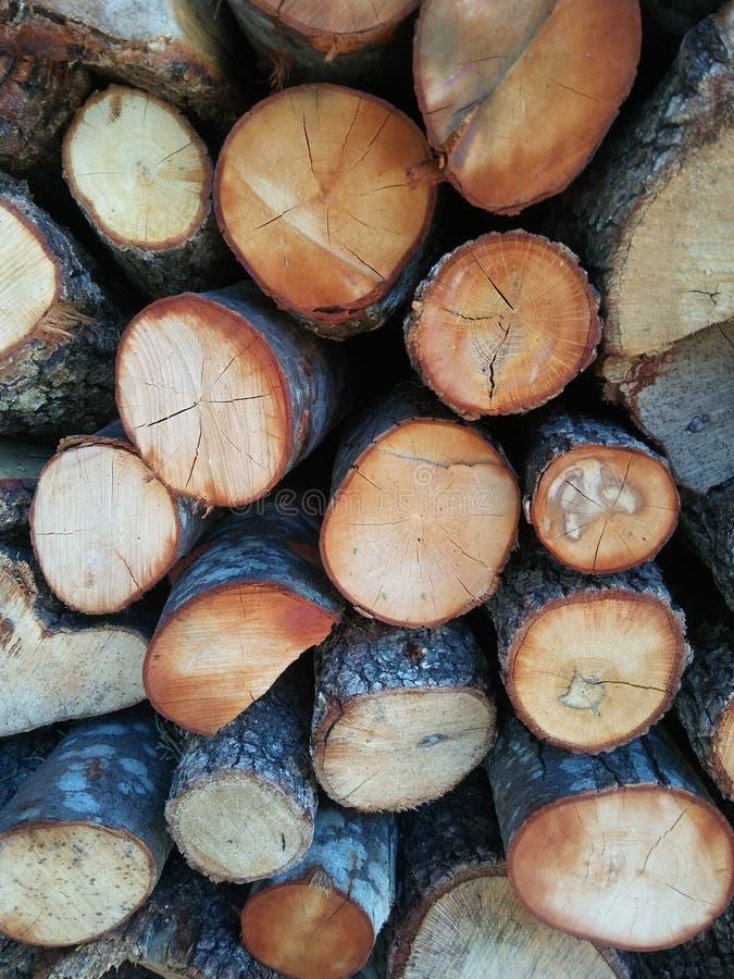 Pilha de lenha para fogão, lareira. Fundo Firewood. Textura de madeira fotografia de stock