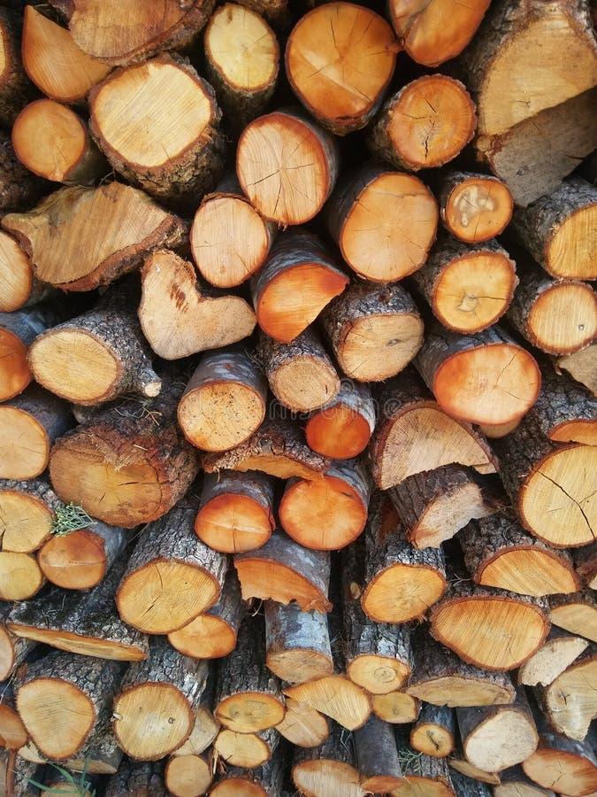 Pilha de lenha para fogão, lareira. Fundo Firewood. Textura de madeira imagens de stock royalty free