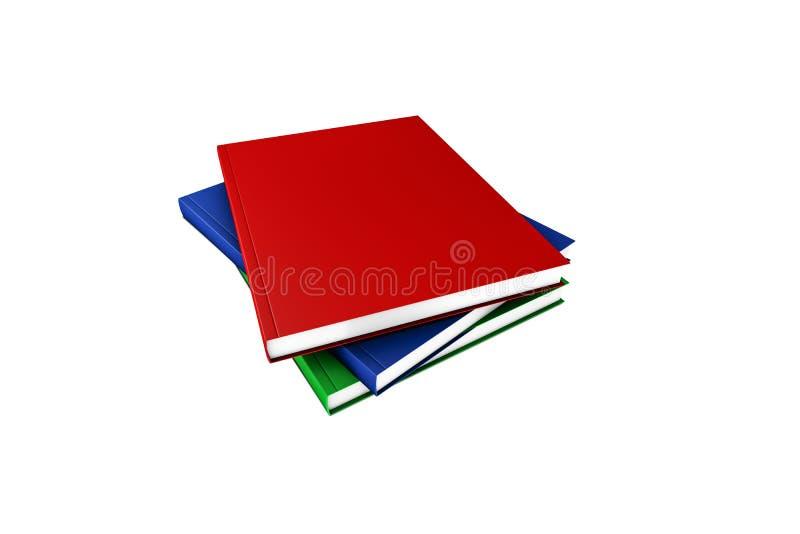Pilha de livro colorida no branco com tampa vazia fotografia de stock