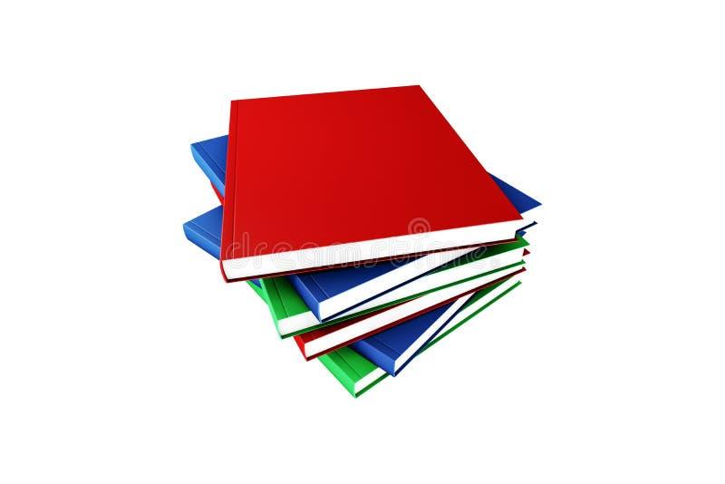 Pilha de livro colorida no branco com tampa vazia imagens de stock royalty free