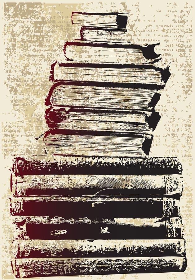 Pilha de livro de Grunge ilustração stock