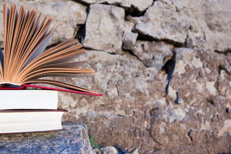 A pilha de livro e o livro encadernado aberto registram no contexto borrado da paisagem da natureza Copie o espaço, de volta a foto de stock