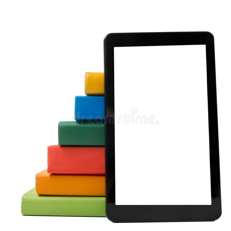 Pilha de livros coloridos e de leitor eletrônico do livro Conceito eletrônico da biblioteca De volta à escola Copie o espaço imagem de stock