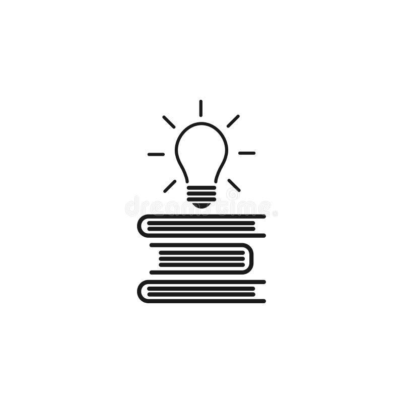 Pilha de livros com o bulbo de brilho que voa para fora Ícone liso do esboço isolado no fundo branco Ícone liso ilustração royalty free