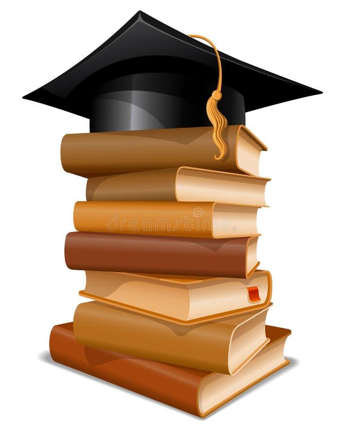 Pilha de livros com tampão da graduação ilustração do vetor