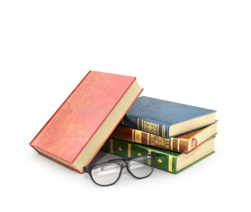 Pilha de livros com um par de monóculos ilustração stock