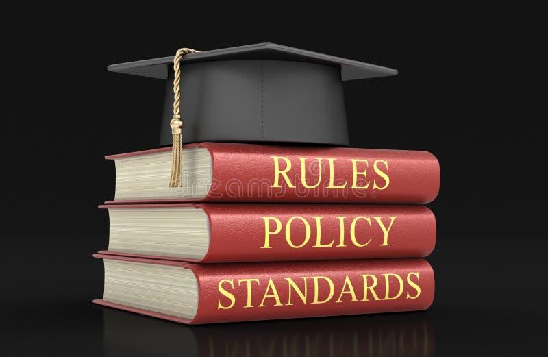 Pilha de livros da conformidade e das regras ilustração stock