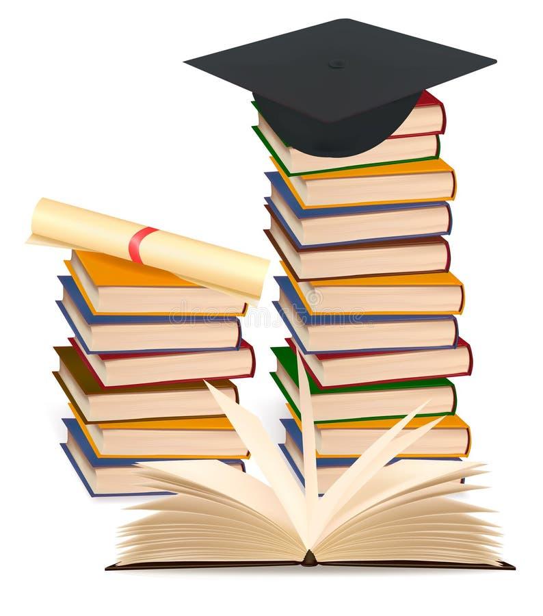 Pilha de livros e de tampão coloridos da graduação. ilustração royalty free