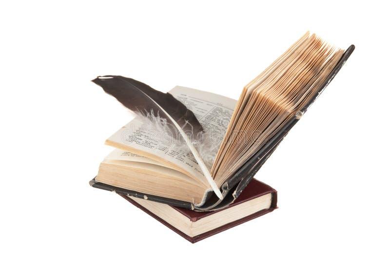 Pilha de livros e de pena foto de stock