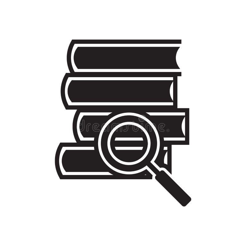 Pilha de livros e de sinal do vetor do ícone da lente de aumento e de isolado do símbolo ilustração royalty free