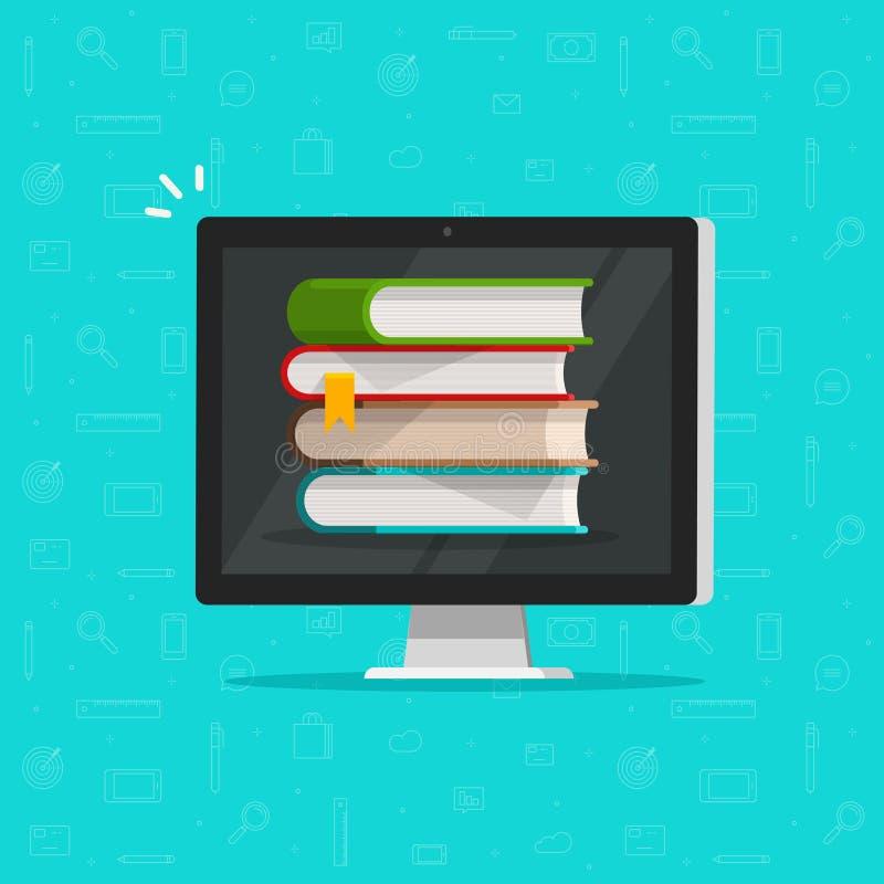 Pilha de livros na ilustração do vetor do tela de computador, PC liso com livros, conceito dos desenhos animados da biblioteca do ilustração stock
