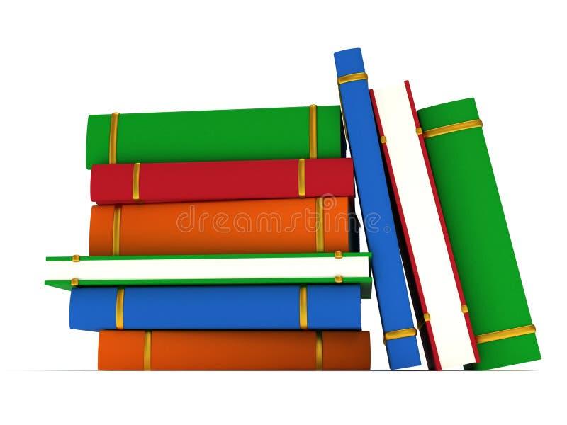 Pilha de livros no fundo branco. 3d rendem ilustração stock