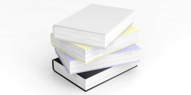 Pilha de livros vazia no fundo branco ilustração 3D ilustração stock