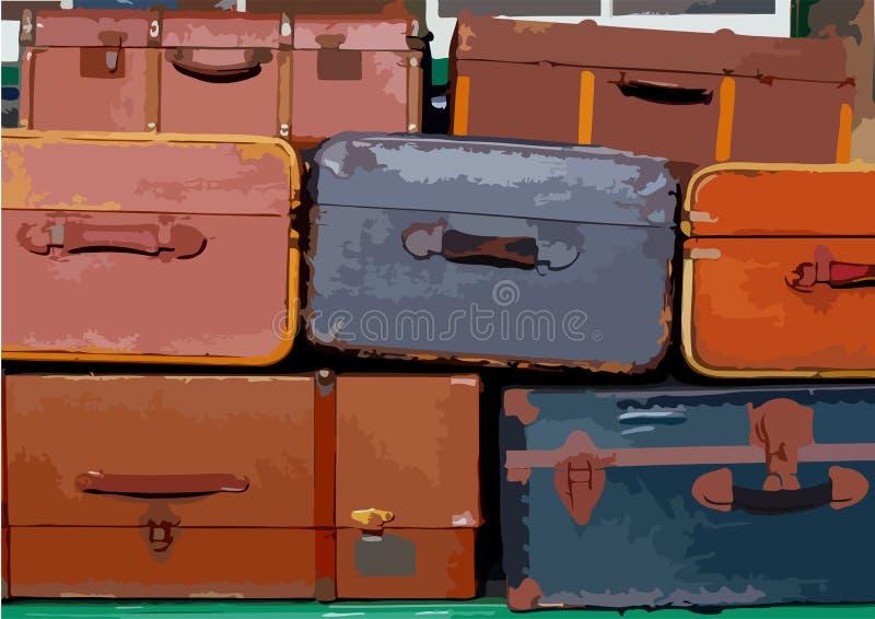 Pilha de malas de viagem ilustração royalty free