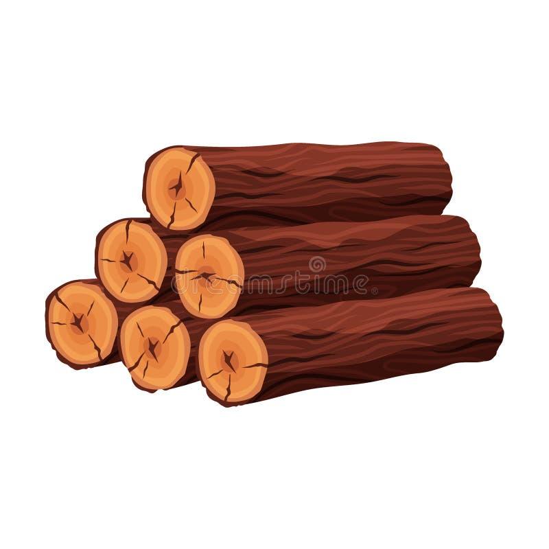 Pilha de materiais da lenha para a indústria da madeira serrada isolados no fundo branco Pilha do tronco de árvore de madeira dos ilustração royalty free