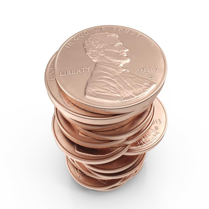 A pilha de moeda de um centavo dos americanos inventa em um branco 3D ilustração, trajeto de grampeamento ilustração stock