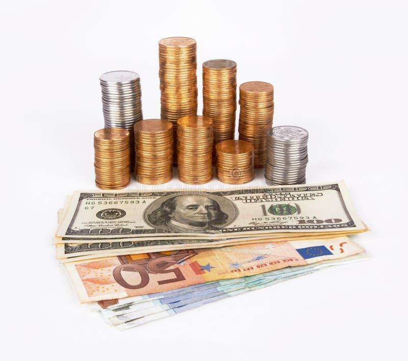 Pilha de moedas foto de stock